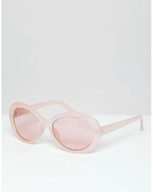 51c6b7108a ASOS - Pink Gafas de sol con montura ovalada en rosa y lentes rosas de for  ...
