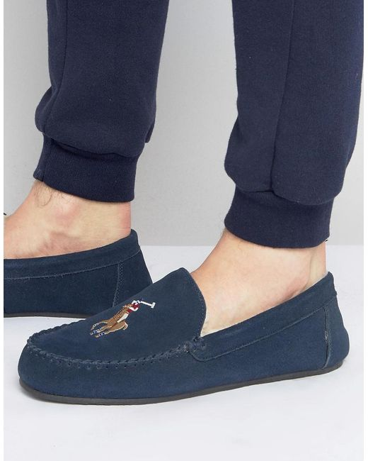 Ralph Lauren - Blue Markel Moccasin Slippers for Men - Lyst