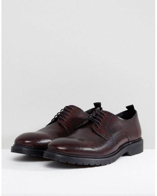 ASOS Wide Fit Oxford Shoes In Burgundy Leather With Laser Detail