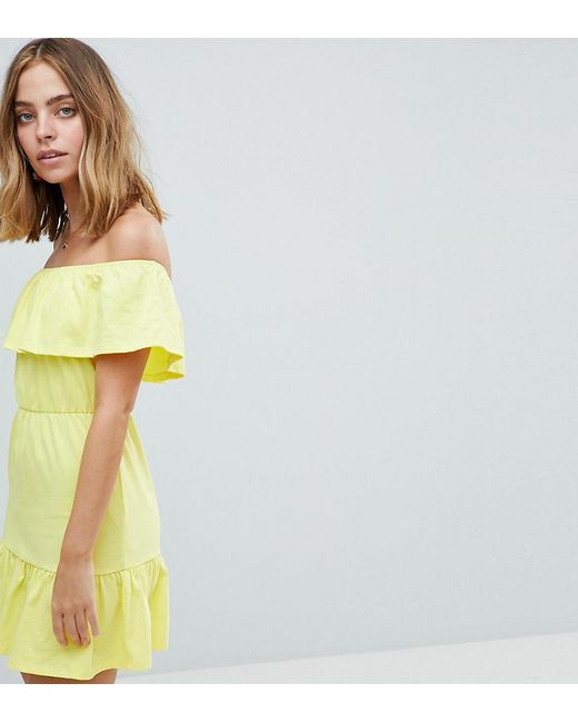 caba8e7cd9f6 ASOS - Multicolor Asos Design Petite Off Shoulder Sundress With Tiered Skirt  - Lyst ...
