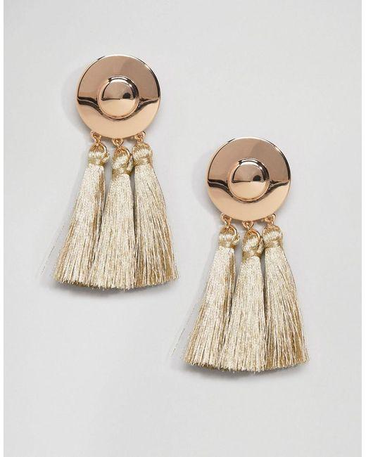 ASOS | Metallic Metal Disc Tassel Earrings | Lyst