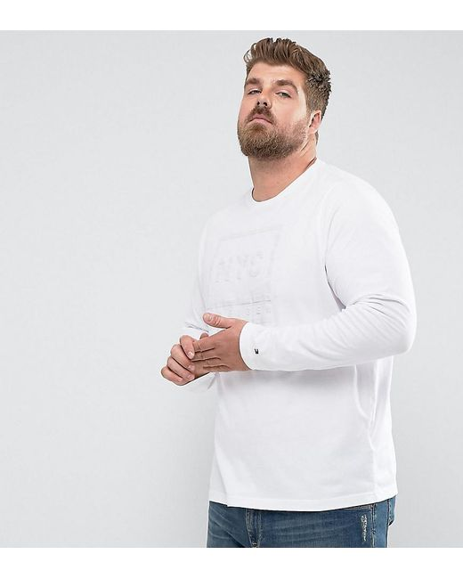 Tommy Hilfiger | Plus Long Sleeve Top Tyson Nyc Logo Print In White for Men | Lyst