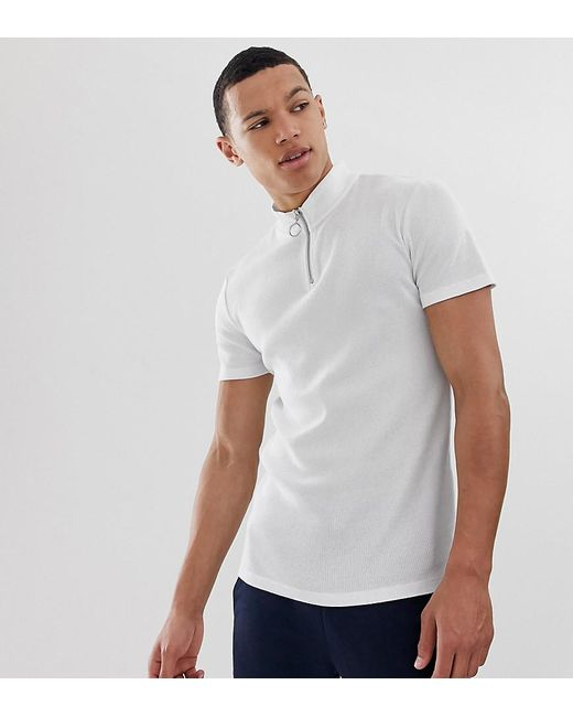 a7d39d9b ASOS - Tall Muscle Rib T-shirt With Stretch And Turtle Zip Neck In White ...