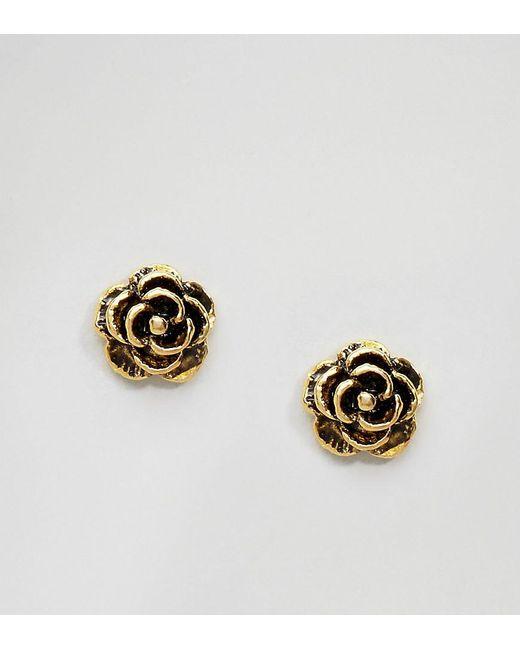 kingsley gold plated stud earrings in metallic
