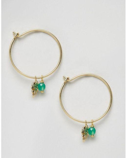 Orelia   Metallic Palm Leaf & Bead Charm Hoop Earrings   Lyst