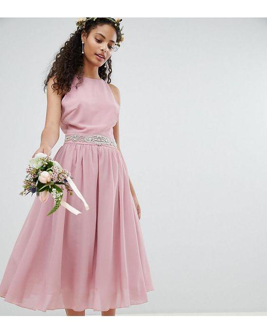 2249960c4c86 TFNC London - Pink Embellished Midi Bridesmaid Dress With Full Prom Skirt -  Lyst ...