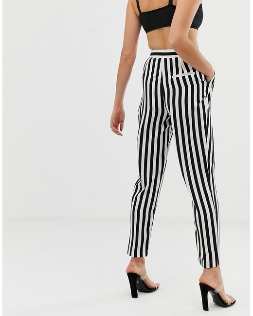 aeece20f20469 ... ASOS - Multicolor Tall Tapered Trousers In Bold Mono Stripe - Lyst