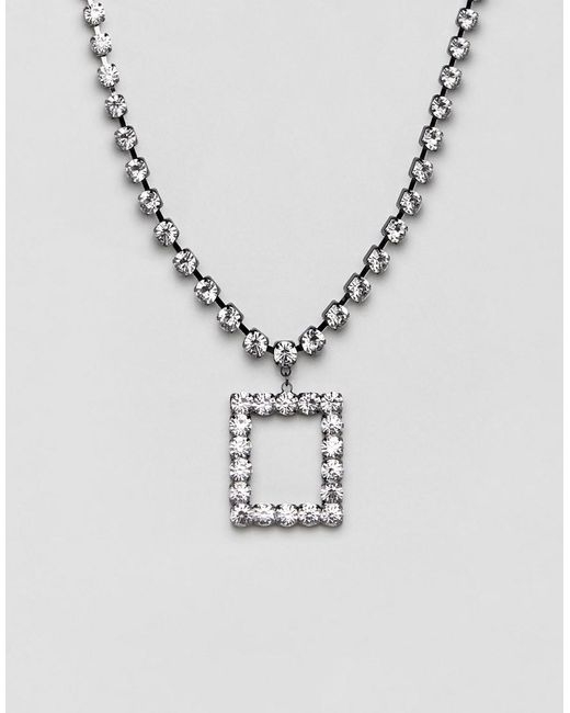 ASOS - Metallic Statement Necklace With Rectangle Pendant In Crystal - Lyst
