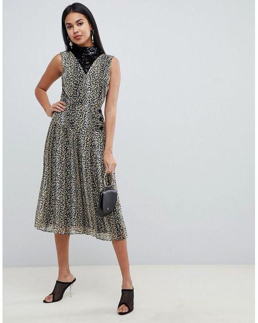 d6940270ad81 ASOS - Multicolor Sequin Mix Leopard Print Pleated Midi Dress - Lyst ...