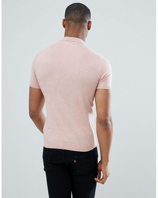 92bae186ca1 Lyst - T-shirt polo en maille ASOS pour homme en coloris Bleu