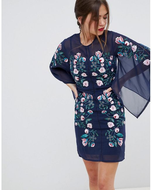 Frock and Frill - Blue Frock & Frill Kimono Sleeve Shift Dress With Embroidered Detail - Lyst