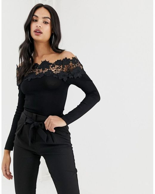 6efec52815310 Lipsy - Black Lace Trim Bardot Top - Lyst ...
