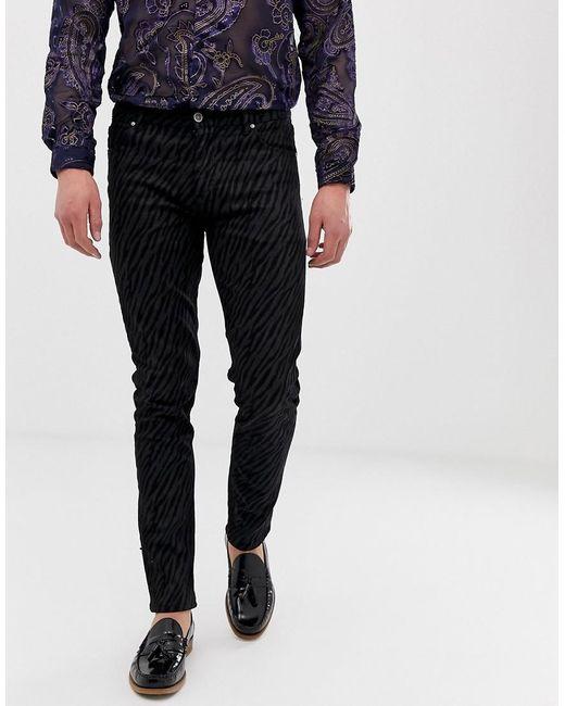 98afae7290 ASOS Skinny Jeans In Washed Black Animal Print in Black for Men - Lyst