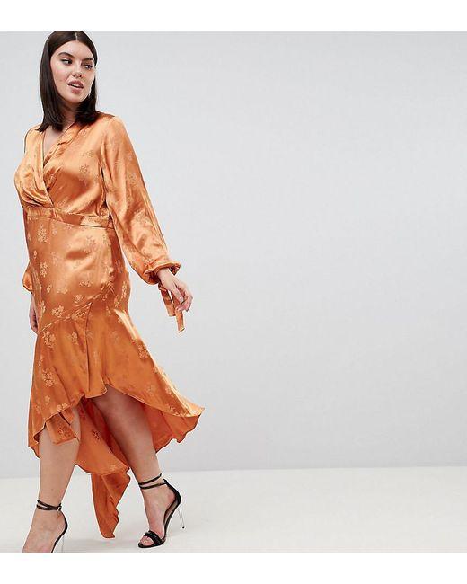 04e5d3728568 ASOS - Orange Asos Design Curve Soft Floral Jacquard Midi Dress With  Asymmetric Hem - Lyst ...