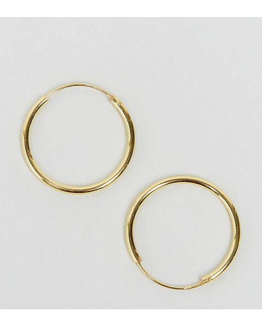 ASOS | Metallic Gold Plated Sterling Silver 20mm Hoop Earrings | Lyst