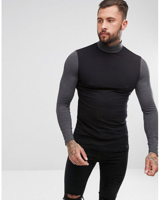 ASOS DESIGN - Black Asos Long Sleeve Muscle T-shirt With Contrast Sleeve And Neck for Men - Lyst