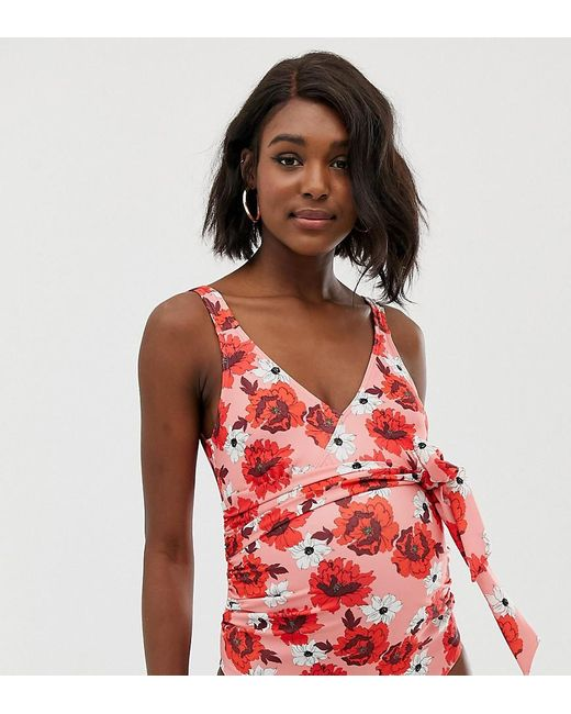 dcd764020c0 ASOS - Asos Design Maternity Recycled Wrap Round Swimsuit In Red Floral  Print - Lyst ...