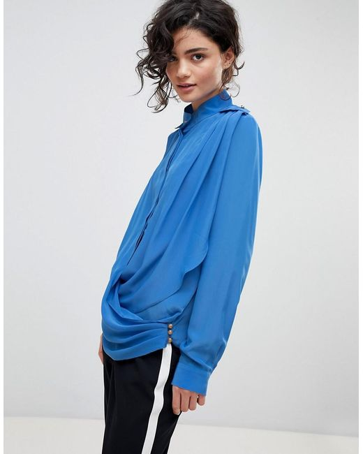 Gestuz - Blue Drape Wrap Shirt With High Collar - Lyst