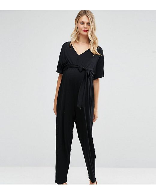 ASOS - Black Asos Design Maternity Belted Jumpsuit With Kimono Sleeve - Lyst