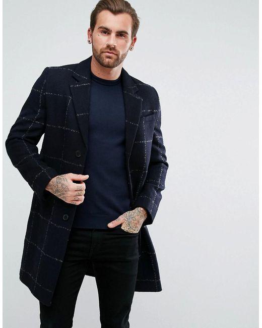ASOS - Blue Asos Checked Wool Mix Overcoat In Navy for Men - Lyst