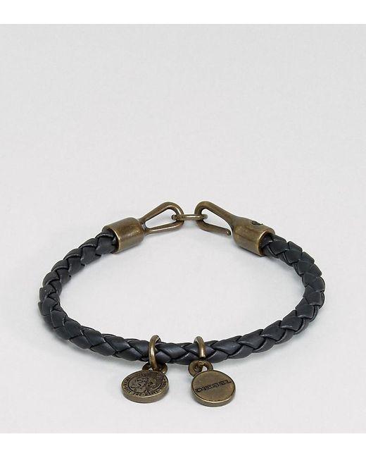 DIESEL - A-santy Leather Charm Bracelet In Black for Men - Lyst