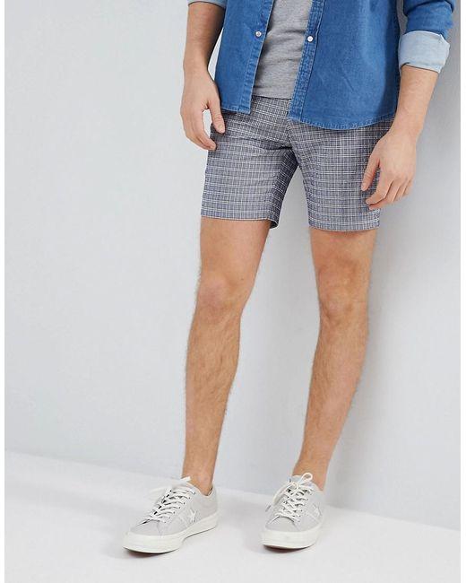 ASOS - Blue Design Slim Mid Length Smart Short In Navy Seersucker Check for Men - Lyst