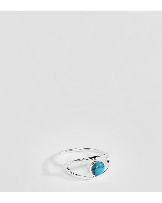 ASOS - Metallic Sterling Silver Ring With Eye Stone Detail - Lyst