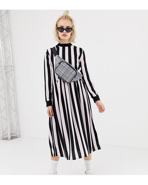 1c4143ad3108ed Collusion - Black Midi Smock Dress In Stripe - Lyst ...