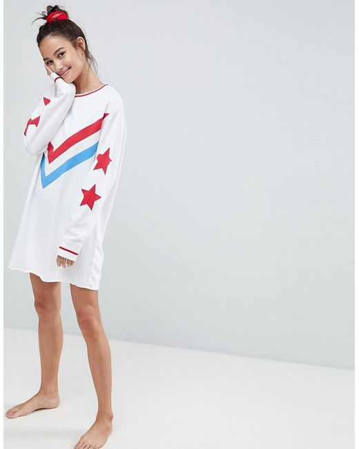 Really Purchase LOUNGE Star Loop Back Dorm Dress - White Asos Outlet New Arrival Amazing Price Cheap Online Big Discount For Sale bVMIEbAYR
