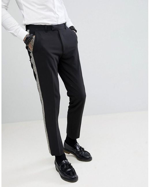 Lyst Asos Skinny Tuxedo Suit Pants In Black With Gold Honeycomb