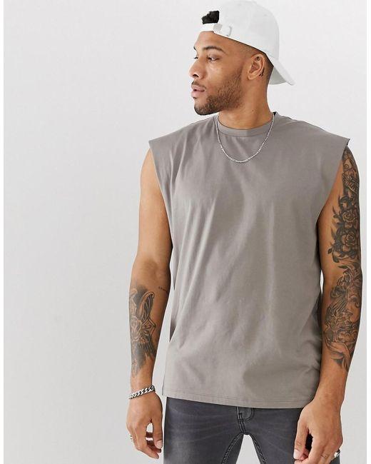 115366cc ASOS - Natural Oversized Longline Sleeveless T-shirt In Beige for Men - Lyst  ...