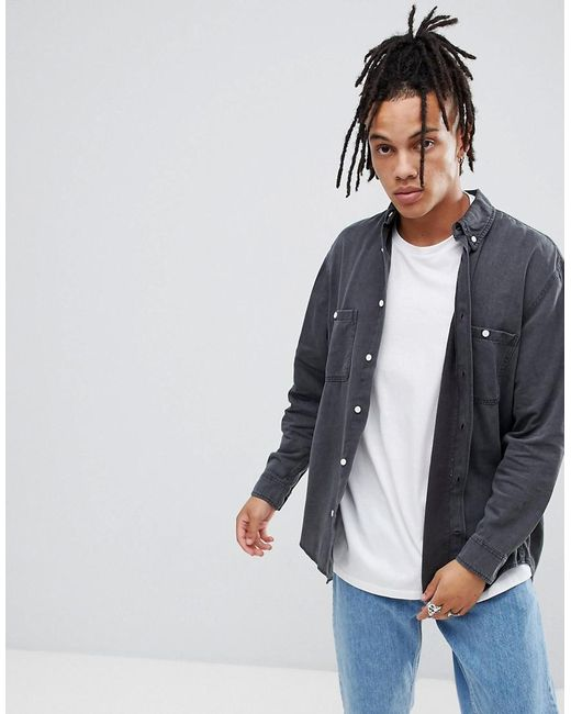 452f9ced27 Cheap Monday - Gray Overdye Denim Shirt for Men - Lyst ...