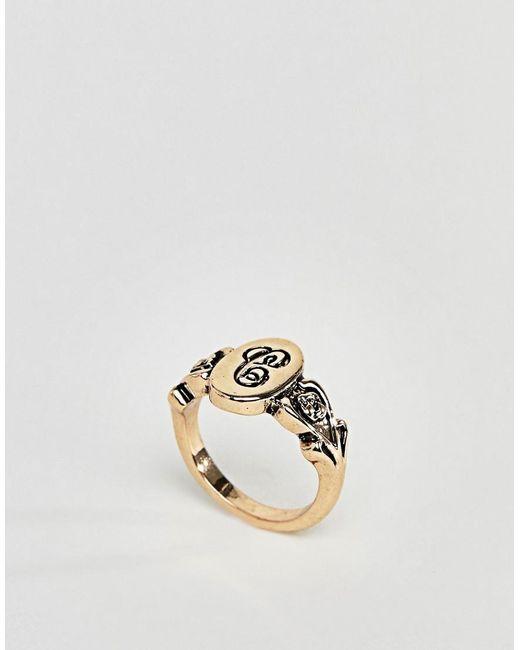 ASOS - Metallic Design Ornate Monogram 'c' Initial Ring - Lyst