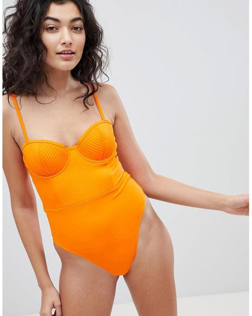 ASOS - Orange Stitched Cupped Underwired Swimsuit - Lyst