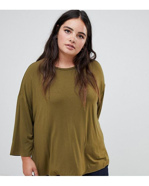 ef46398480475 ASOS - Green Asos Design Curve Top With 3 4 Sleeves In Drapey Fabric In ...
