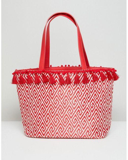 Miss Selfridge - Red Tassel Rim Tote Bag - Lyst