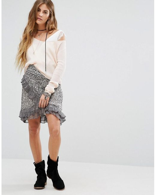 Free People | Multicolor Around The World Printed Wrap Skirt | Lyst
