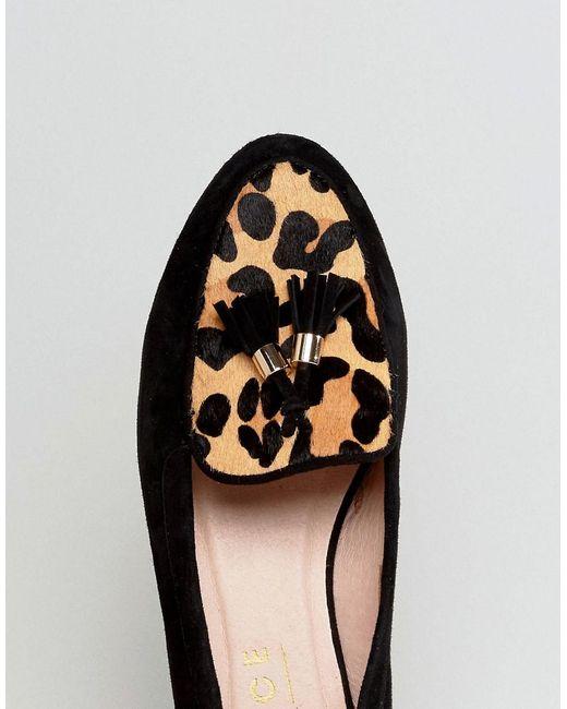 Bureau Feutré Imprimé Léopard Chaussures En Daim Plates - Noir z7snQ2u2