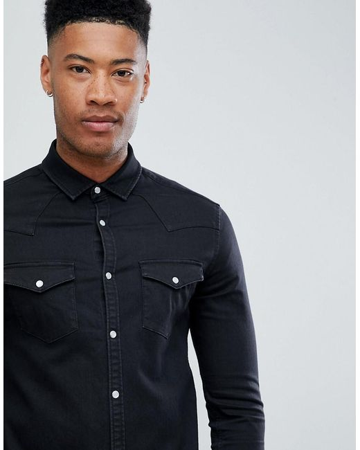 DESIGN Tall skinny western denim shirt in black - Black Asos Websites Online Outlet Sale Cheap Geniue Stockist Reliable For Sale Websites Cheap Price iZuV0