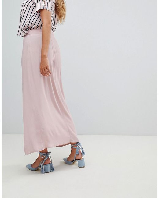 335aff725 ... New Look - Pink Split Front Maxi Skirt - Lyst