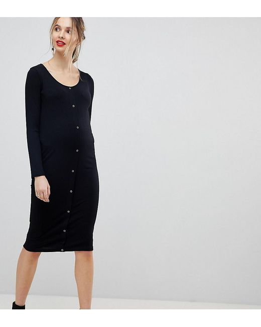 ASOS - Black Asos Design Maternity Midi Long Sleeve Bodycon Dress With Popper Front - Lyst