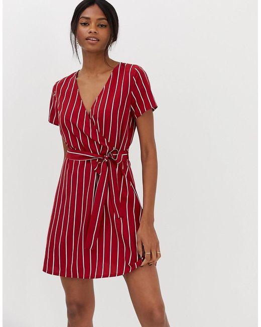 a18e11ce84ff Vila - Red Stripe Faux Wrap Dress - Lyst ...