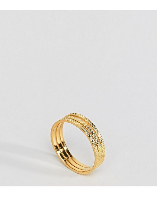 ASOS - Metallic Gold Plated Sterling Silver Triple Row Etched Band Ring - Lyst