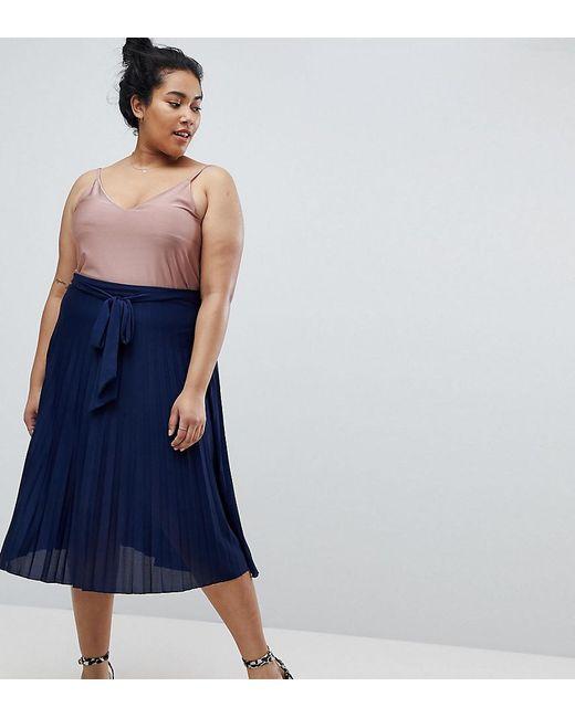 ASOS - Blue Pleated Midi Skirt With Belt - Lyst