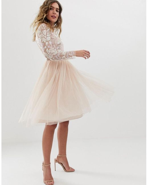 205bfb867 ... Needle & Thread - Pink Embellished Long Sleeve Midi Dress With Tulle  Skirt In Rose Quartz