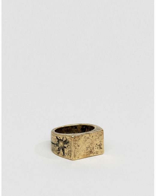 Classics 77 - Metallic Burnished Cross Band Ring In Gold for Men - Lyst
