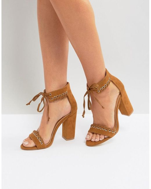 Boohoo   Brown Whipstitch Heeled Sandal   Lyst