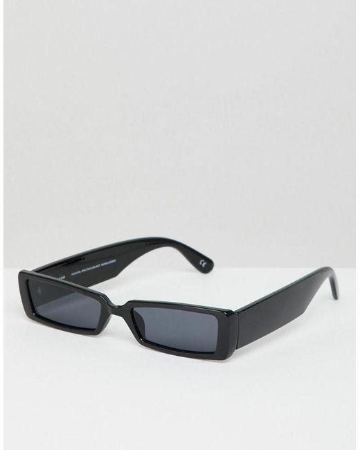 Asos Design Small Rectangular Frame Sunglasses in Black - Lyst