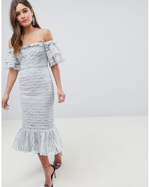 97273a048de ASOS - Gray Asos Linear Lace Pencil Midi Dress With Ruffle Detail - Lyst ...