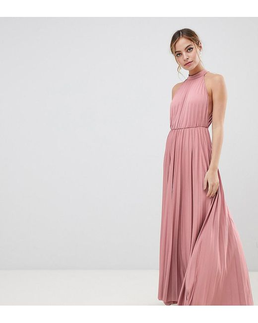 13f3e56306e ASOS - Pink Asos Design Petite Exclusive Halter Waisted Pleated Maxi Dress  - Lyst ...